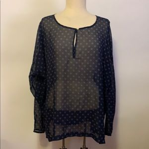 Old Navy Blue Sheer Blouse with Dots Sz L